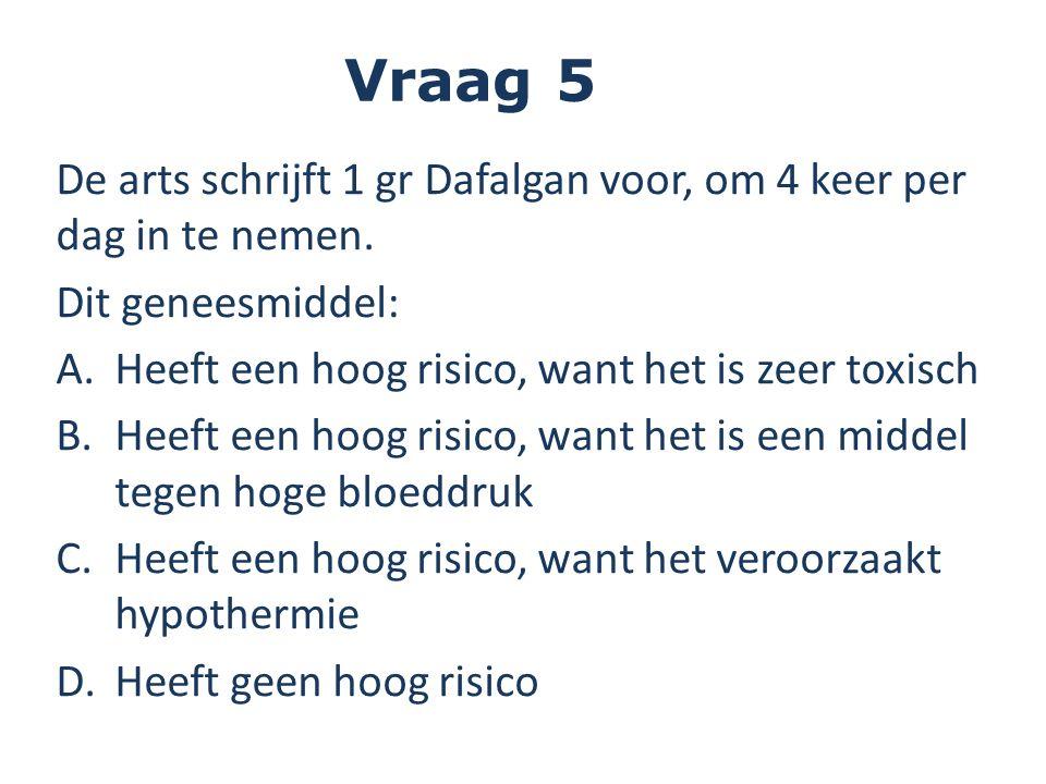De arts schrijft 1 gr Dafalgan voor, om 4 keer per dag in te nemen. Dit geneesmiddel: A.Heeft een hoog risico, want het is zeer toxisch B.Heeft een ho