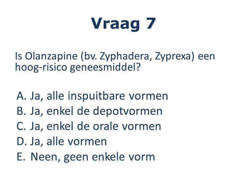 Vraag 7 Is Olanzapine (bv. Zyphadera, Zyprexa) een hoog-risico geneesmiddel? A.Ja, alle inspuitbare vormen B.Ja, enkel de depotvormen C.Ja, enkel de o