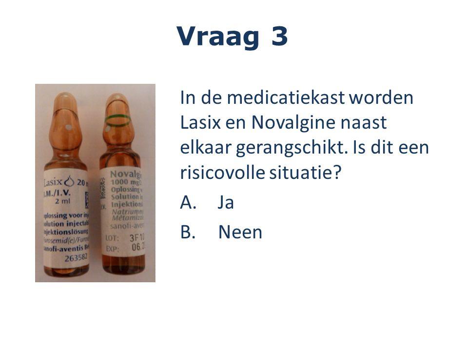 In de medicatiekast worden Lasix en Novalgine naast elkaar gerangschikt. Is dit een risicovolle situatie? A.Ja B.Neen Vraag 3