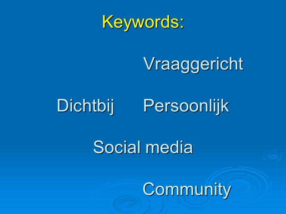 Keywords: Vraaggericht Dichtbij Persoonlijk Social media Community