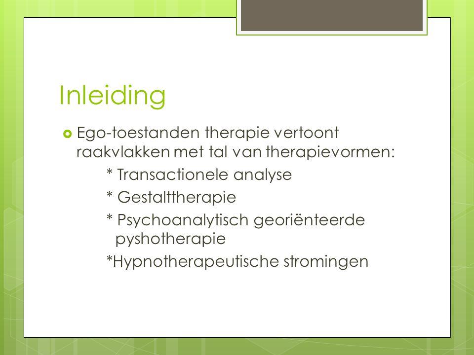  Ego-toestanden therapie vertoont raakvlakken met tal van therapievormen: * Transactionele analyse * Gestalttherapie * Psychoanalytisch georiënteerde pyshotherapie *Hypnotherapeutische stromingen