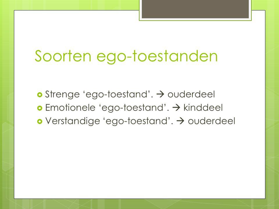 Soorten ego-toestanden  Strenge 'ego-toestand'.  ouderdeel  Emotionele 'ego-toestand'.  kinddeel  Verstandige 'ego-toestand'.  ouderdeel