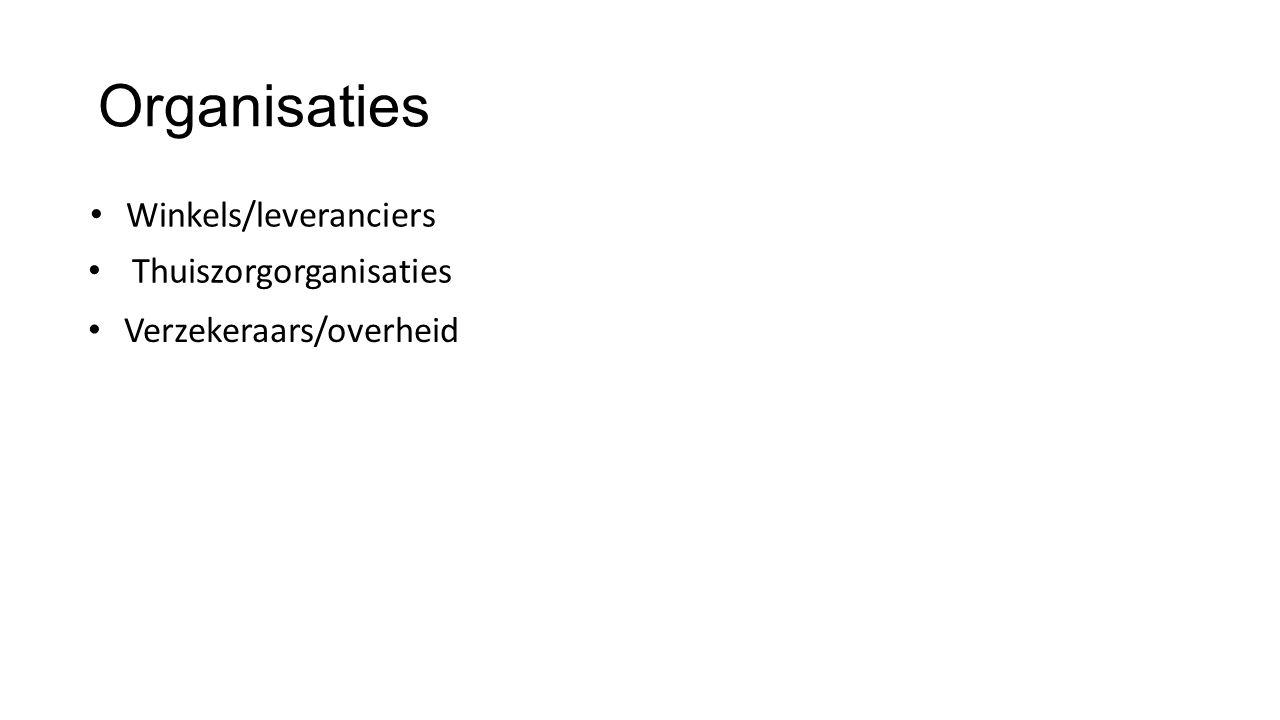 Organisaties Winkels/leveranciers Verzekeraars/overheid Thuiszorgorganisaties