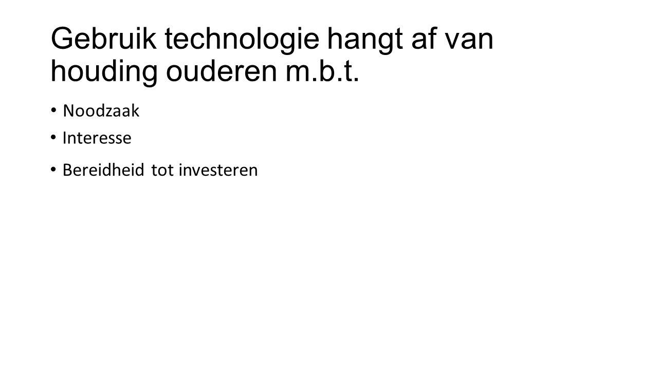 Gebruik technologie hangt af van gedachten over Eigenschappen anderen/apparatuur Consequenties gebruik Eigen vaardigheid