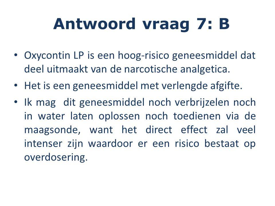 Oxycontin LP is een hoog-risico geneesmiddel dat deel uitmaakt van de narcotische analgetica.