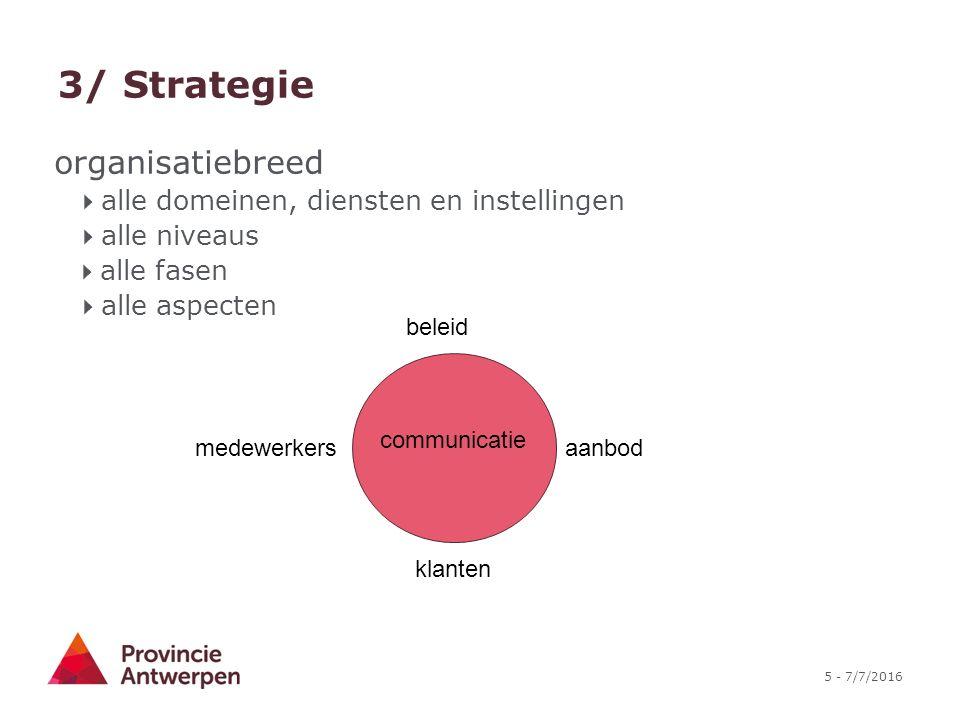 5 - 7/7/2016 3/ Strategie beleid aanbod communicatie klanten medewerkers organisatiebreed  alle domeinen, diensten en instellingen  alle niveaus  alle fasen  alle aspecten