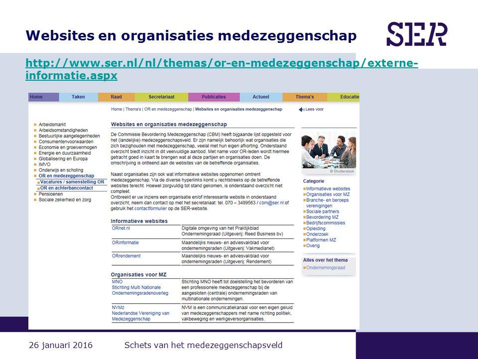 26 januari 2016 Schets van het medezeggenschapsveld Websites en organisaties medezeggenschap http://www.ser.nl/nl/themas/or-en-medezeggenschap/externe- informatie.aspx http://www.ser.nl/nl/themas/or-en-medezeggenschap/externe- informatie.aspx