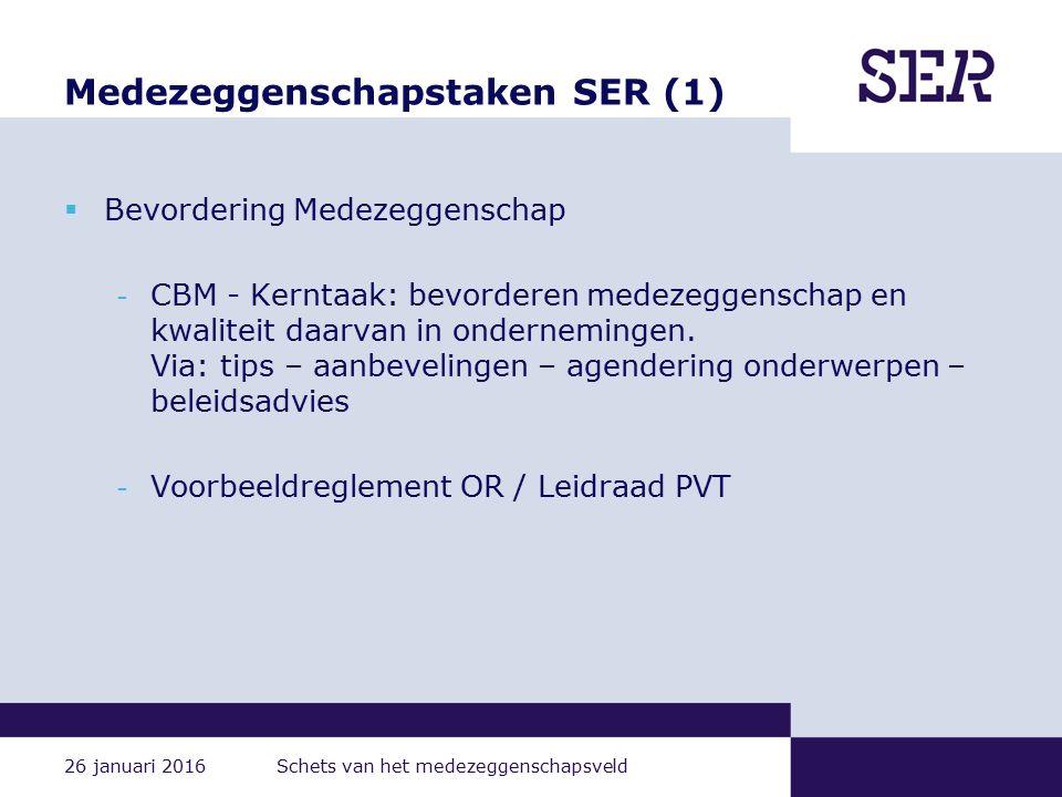 26 januari 2016 Schets van het medezeggenschapsveld Medezeggenschapstaken SER (1)  Bevordering Medezeggenschap - CBM - Kerntaak: bevorderen medezeggenschap en kwaliteit daarvan in ondernemingen.