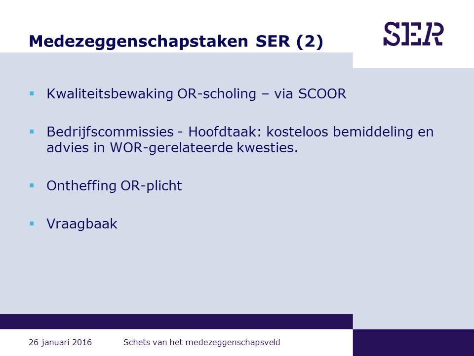 26 januari 2016 Schets van het medezeggenschapsveld Medezeggenschapstaken SER (2)  Kwaliteitsbewaking OR-scholing – via SCOOR  Bedrijfscommissies - Hoofdtaak: kosteloos bemiddeling en advies in WOR-gerelateerde kwesties.