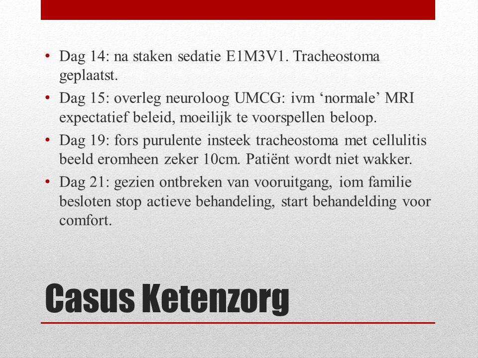 Casus Ketenzorg Dag 14: na staken sedatie E1M3V1. Tracheostoma geplaatst.