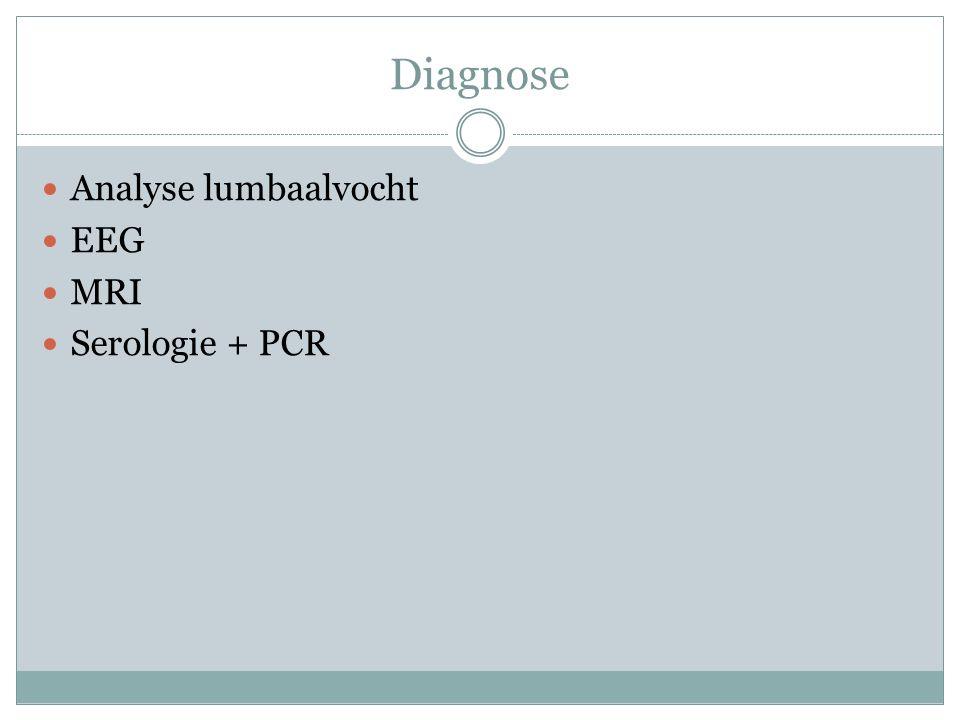 Diagnose Analyse lumbaalvocht EEG MRI Serologie + PCR