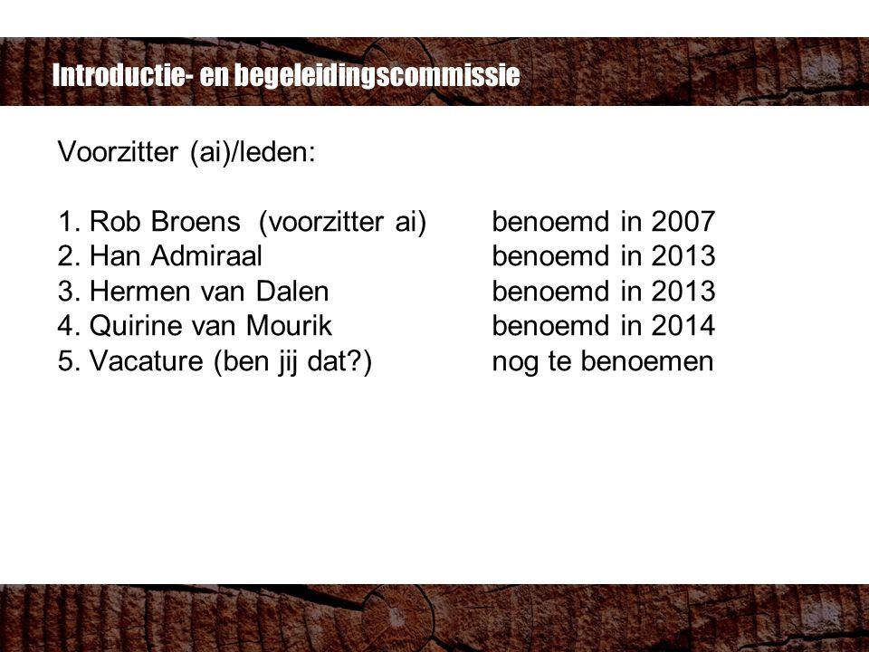 Voorzitter (ai)/leden: 1. Rob Broens (voorzitter ai)benoemd in 2007 2.