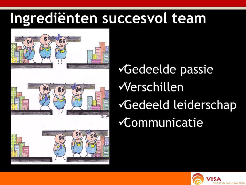 Ingrediënten succesvol team Gedeelde passie Verschillen Gedeeld leiderschap Communicatie