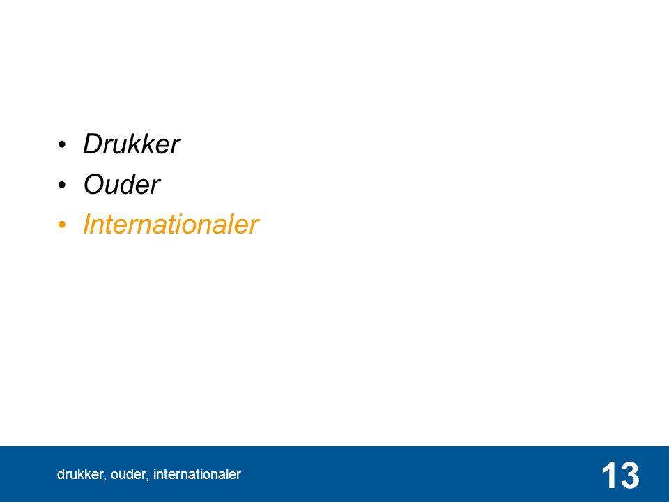 drukker, ouder, internationaler 13 Drukker Ouder Internationaler