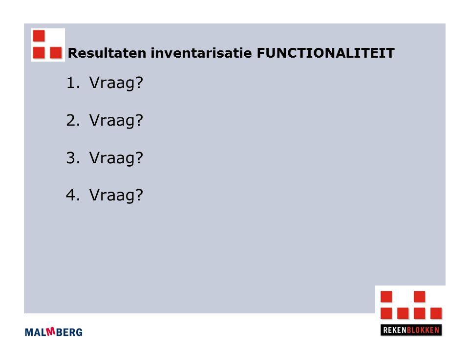 Resultaten inventarisatie FUNCTIONALITEIT 1.Vraag? 2.Vraag? 3.Vraag? 4.Vraag?