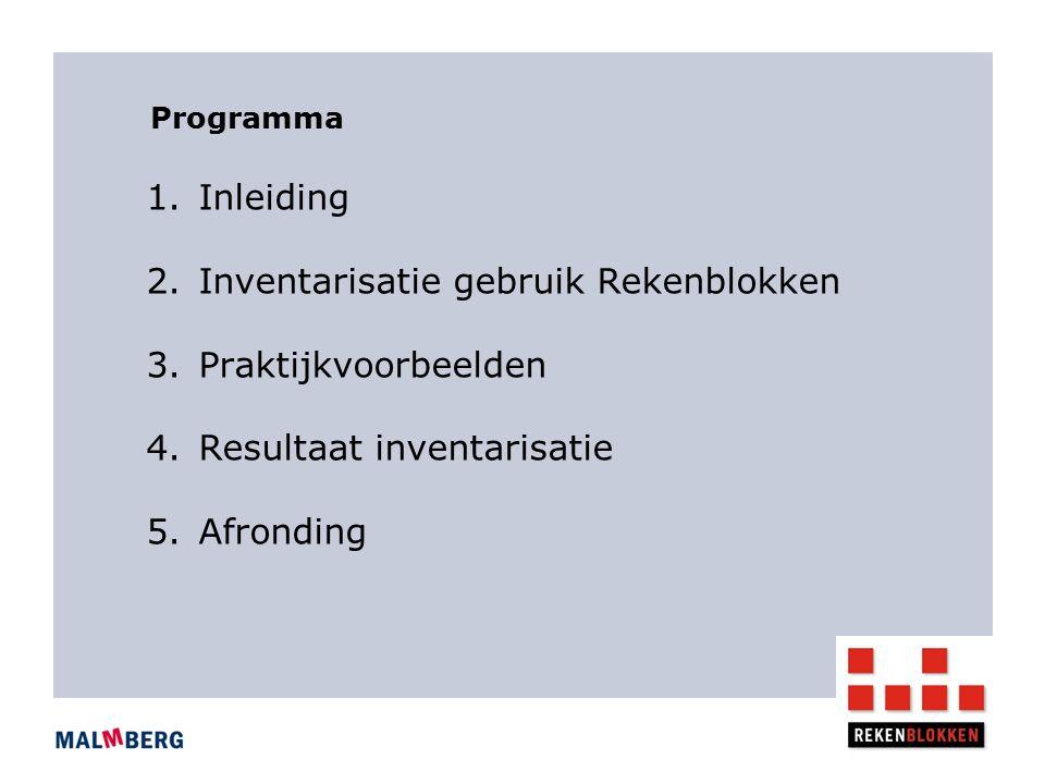 Programma 1.Inleiding 2.Inventarisatie gebruik Rekenblokken 3.Praktijkvoorbeelden 4.Resultaat inventarisatie 5.Afronding