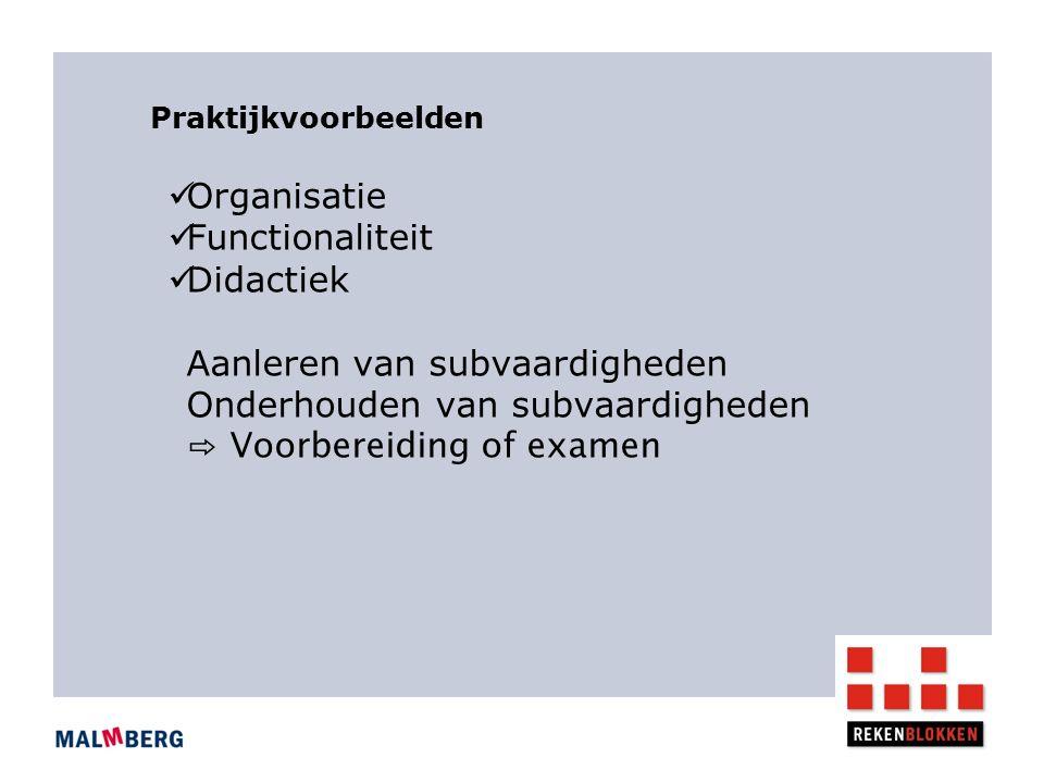 Organisatie Functionaliteit Didactiek Aanleren van subvaardigheden Onderhouden van subvaardigheden ⇨ Voorbereiding of examen Praktijkvoorbeelden