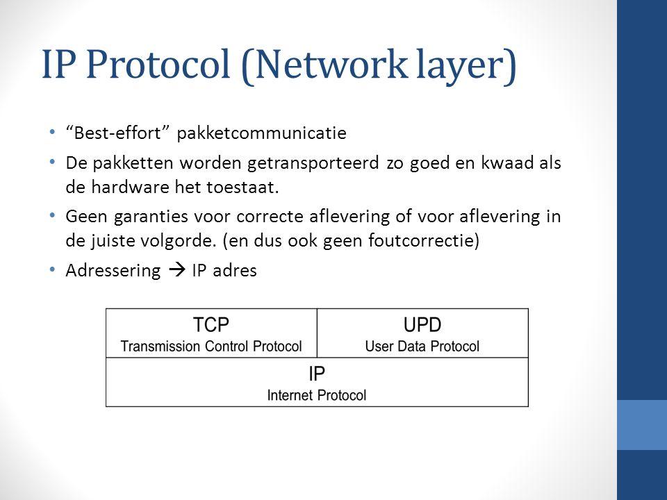 IP Protocol (Network layer) Best-effort pakketcommunicatie De pakketten worden getransporteerd zo goed en kwaad als de hardware het toestaat.