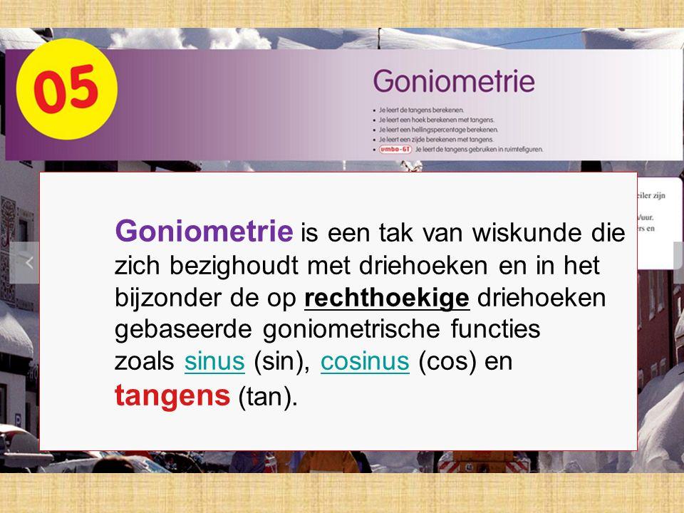 Goniometrie is een tak van wiskunde die zich bezighoudt met driehoeken en in het bijzonder de op rechthoekige driehoeken gebaseerde goniometrische fun