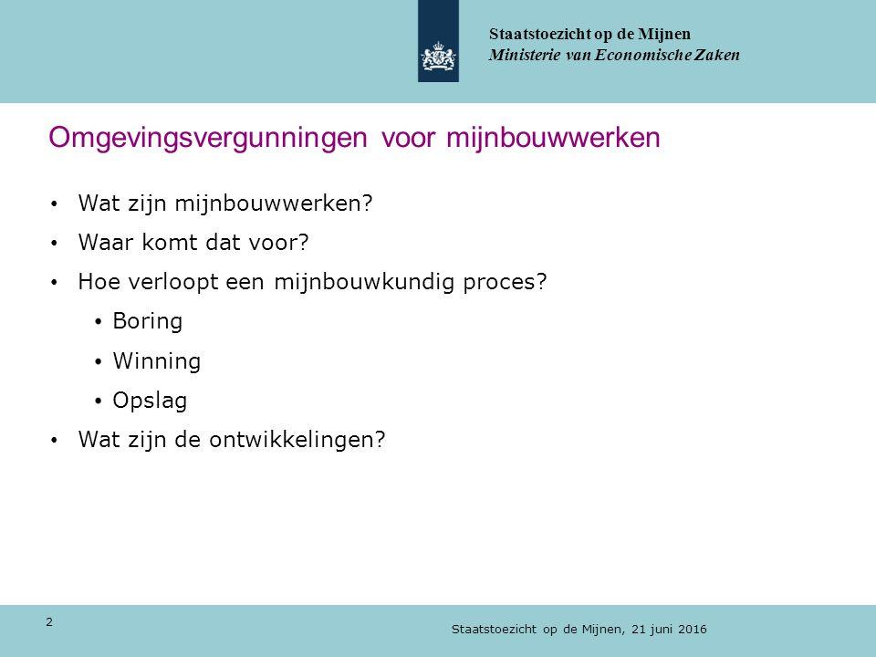 Delfstofwinning in Nederland Zoutwinning door oplosmijnbouw (water in, pekel uit) Staatstoezicht op de Mijnen, 21 juni 2016 13