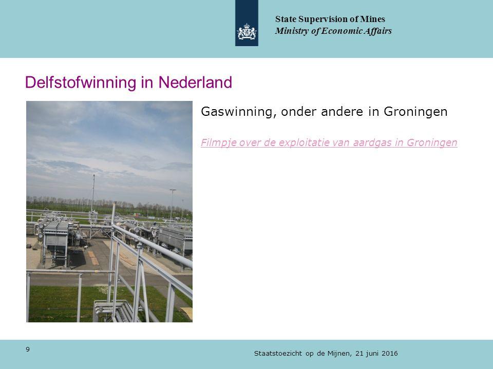 Delfstofwinning in Nederland Gaswinning, onder andere in Groningen Filmpje over de exploitatie van aardgas in Groningen Staatstoezicht op de Mijnen, 21 juni 2016 9 State Supervision of Mines Ministry of Economic Affairs