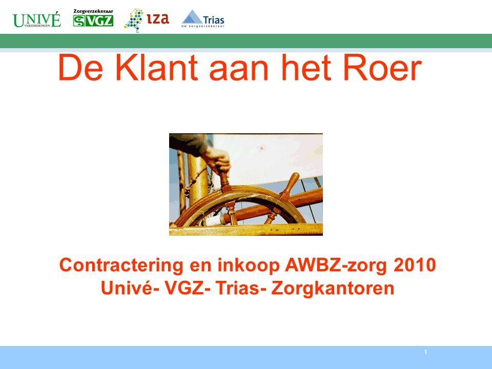 1 De Klant aan het Roer Contractering en inkoop AWBZ-zorg 2010 Univé- VGZ- Trias- Zorgkantoren