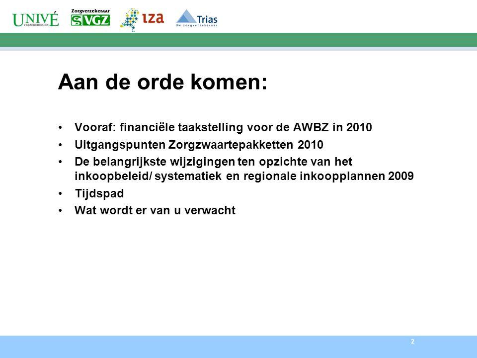 2 Aan de orde komen: Vooraf: financiële taakstelling voor de AWBZ in 2010 Uitgangspunten Zorgzwaartepakketten 2010 De belangrijkste wijzigingen ten opzichte van het inkoopbeleid/ systematiek en regionale inkoopplannen 2009 Tijdspad Wat wordt er van u verwacht