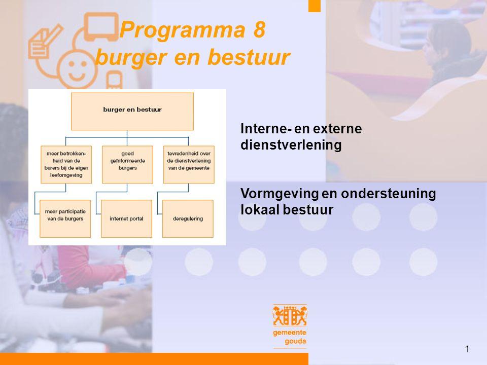 1 Programma 8 burger en bestuur Interne- en externe dienstverlening Vormgeving en ondersteuning lokaal bestuur