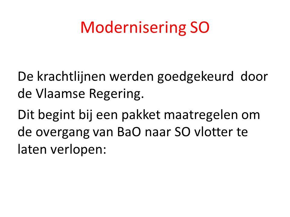 Modernisering SO De krachtlijnen werden goedgekeurd door de Vlaamse Regering.