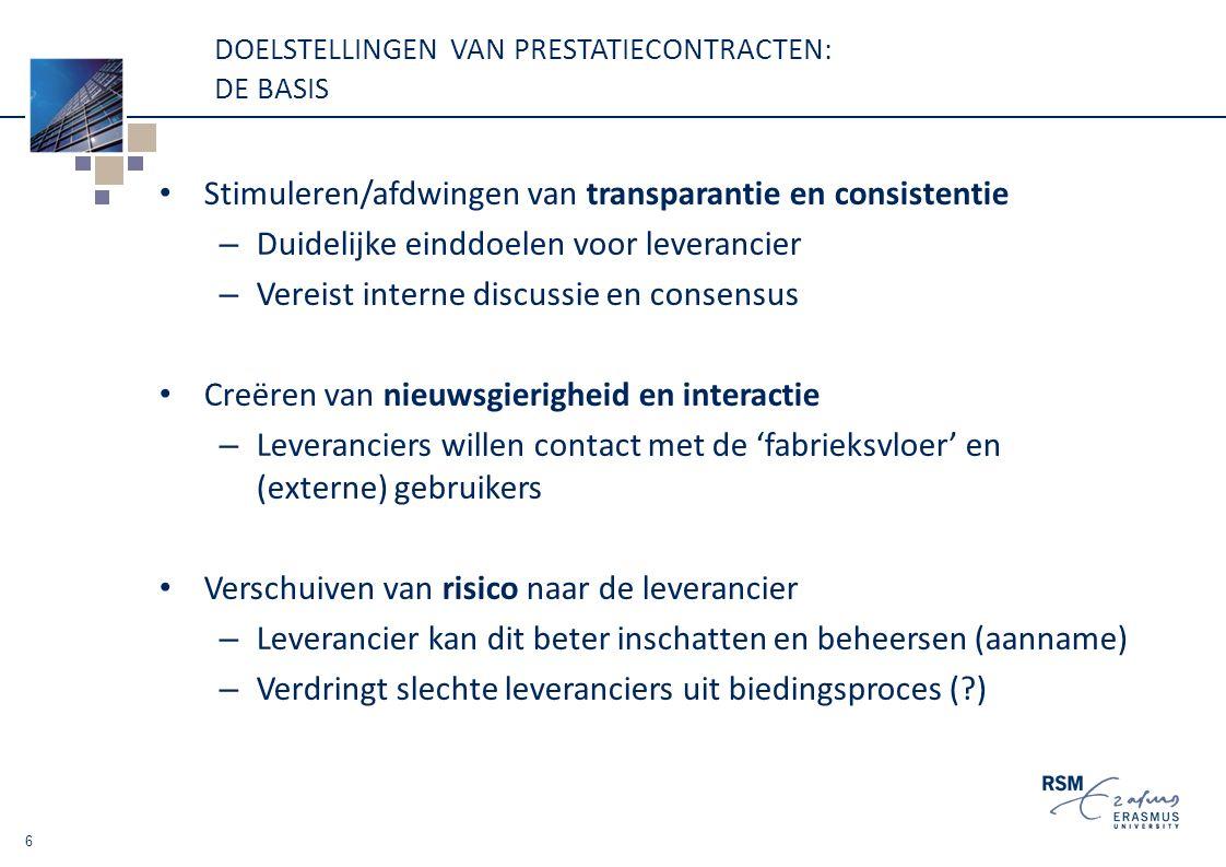 DOELSTELLINGEN VAN PRESTATIECONTRACTEN: DE BASIS Stimuleren/afdwingen van transparantie en consistentie – Duidelijke einddoelen voor leverancier – Vereist interne discussie en consensus Creëren van nieuwsgierigheid en interactie – Leveranciers willen contact met de 'fabrieksvloer' en (externe) gebruikers Verschuiven van risico naar de leverancier – Leverancier kan dit beter inschatten en beheersen (aanname) – Verdringt slechte leveranciers uit biedingsproces ( ) 6
