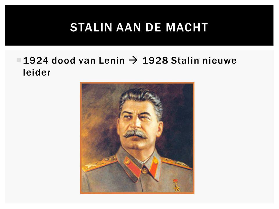 STALIN AAN DE MACHT  1924 dood van Lenin  1928 Stalin nieuwe leider