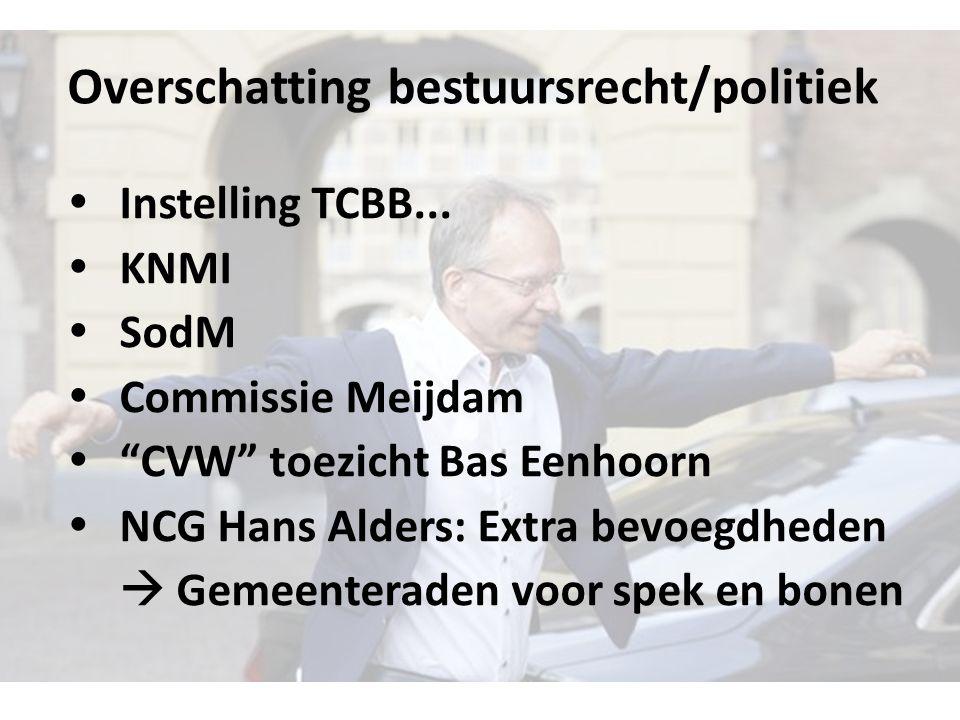 Overschatting bestuursrecht/politiek  Instelling TCBB...