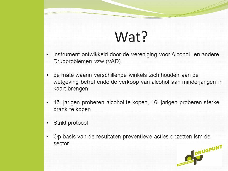 Wat? instrument ontwikkeld door de Vereniging voor Alcohol- en andere Drugproblemen vzw (VAD) de mate waarin verschillende winkels zich houden aan de