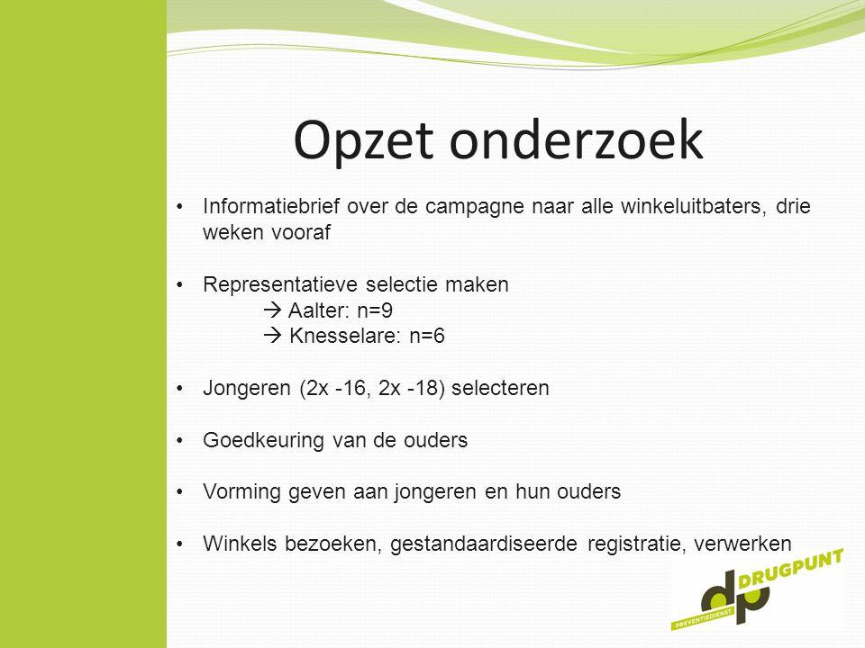 Opzet onderzoek Informatiebrief over de campagne naar alle winkeluitbaters, drie weken vooraf Representatieve selectie maken  Aalter: n=9  Knesselar