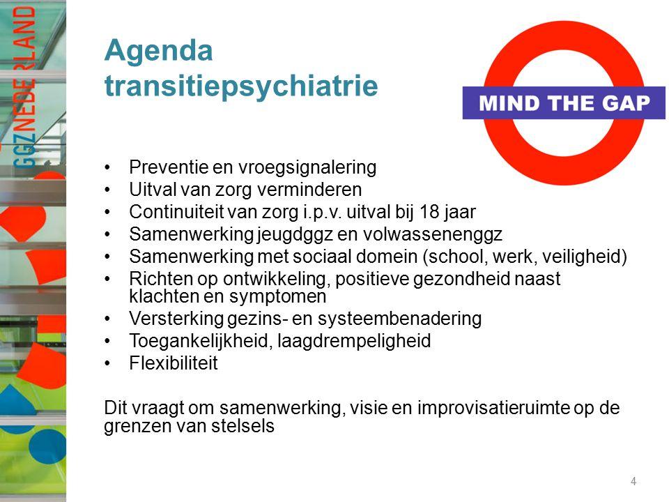 Agenda transitiepsychiatrie Preventie en vroegsignalering Uitval van zorg verminderen Continuiteit van zorg i.p.v. uitval bij 18 jaar Samenwerking jeu