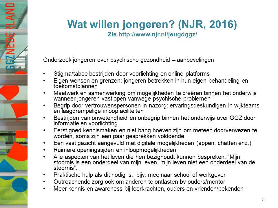 Wat willen jongeren? (NJR, 2016) Zie http://www.njr.nl/jeugdggz/ Onderzoek jongeren over psychische gezondheid – aanbevelingen Stigma/taboe bestrijden