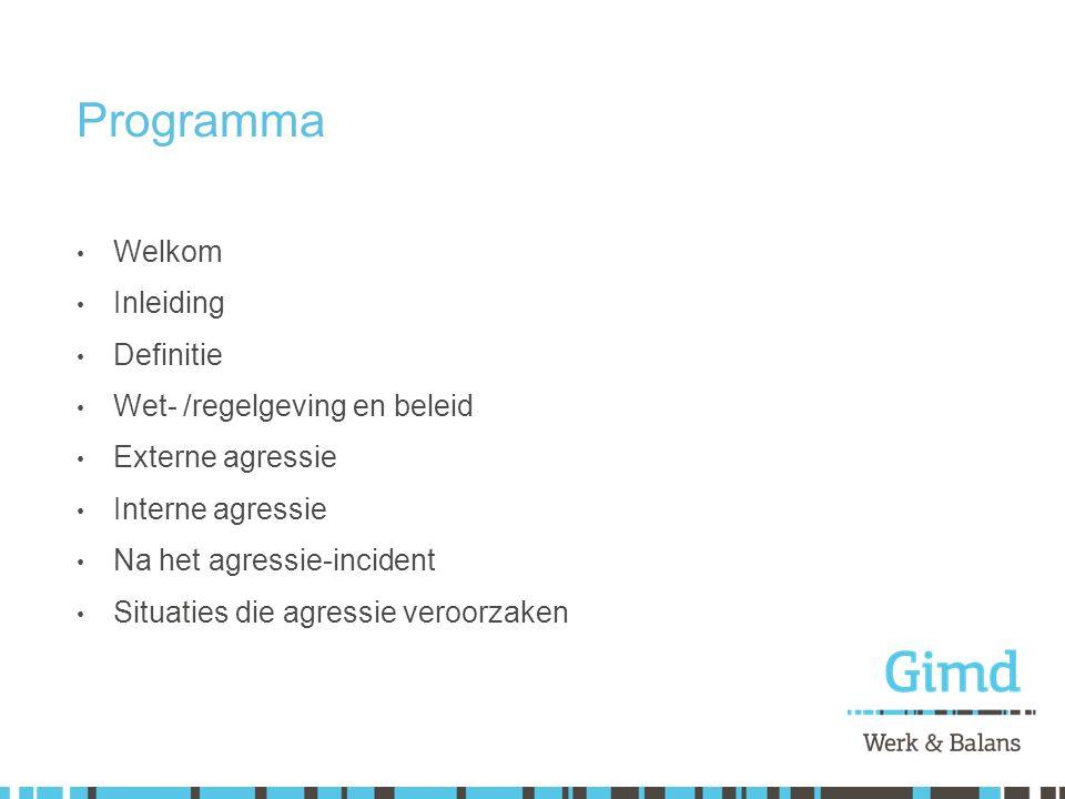 Programma Welkom Inleiding Definitie Wet- /regelgeving en beleid Externe agressie Interne agressie Na het agressie-incident Situaties die agressie ver