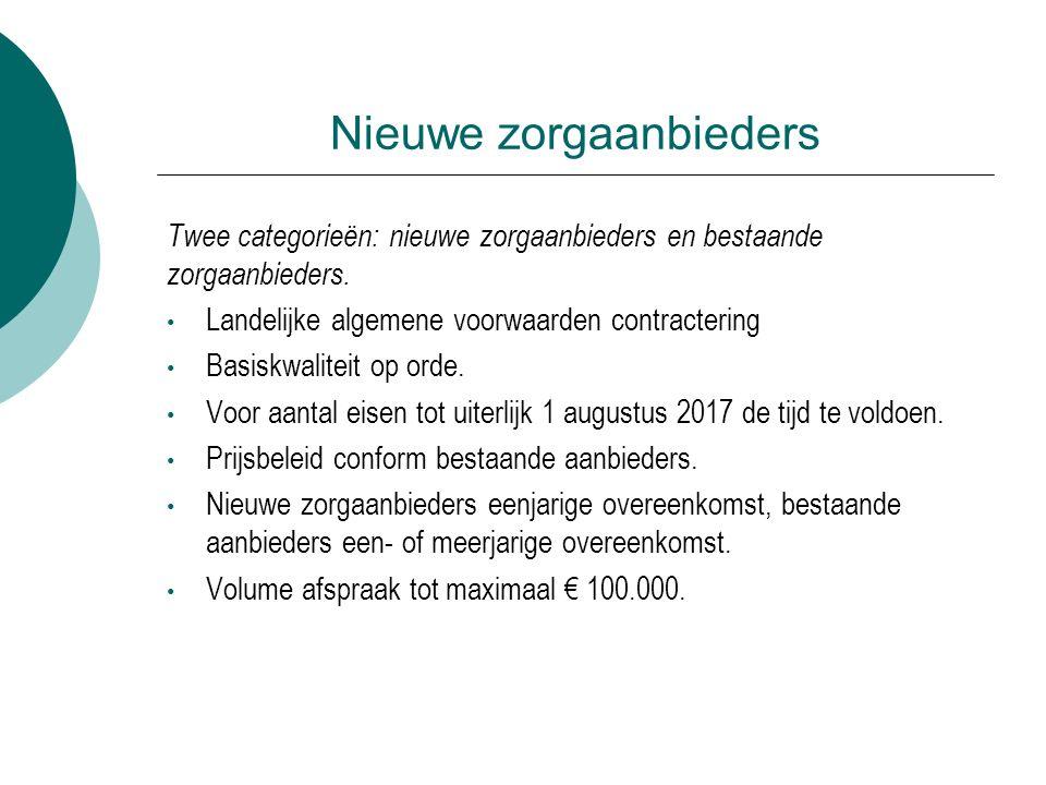 Nieuwe zorgaanbieders Twee categorieën: nieuwe zorgaanbieders en bestaande zorgaanbieders.
