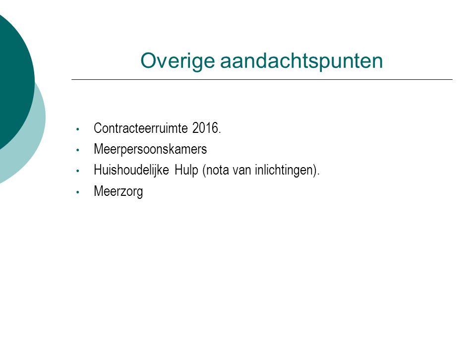Overige aandachtspunten Contracteerruimte 2016.