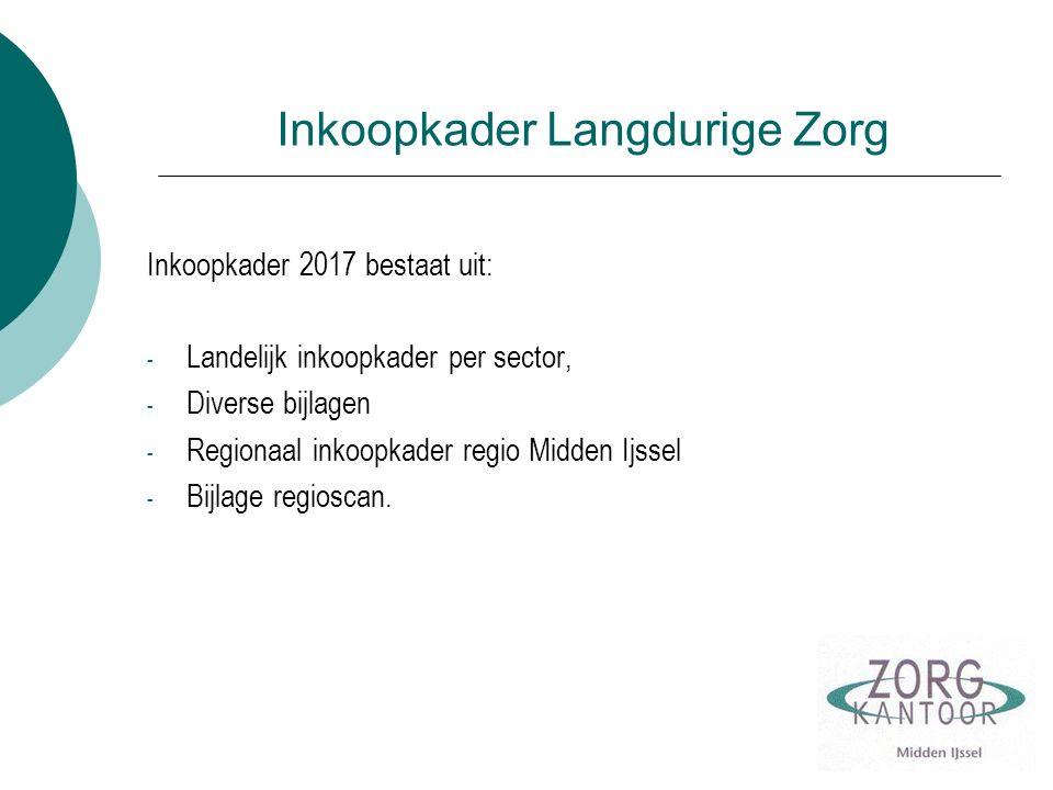 Inkoopkader Langdurige Zorg Inkoopkader 2017 bestaat uit: - Landelijk inkoopkader per sector, - Diverse bijlagen - Regionaal inkoopkader regio Midden Ijssel - Bijlage regioscan.