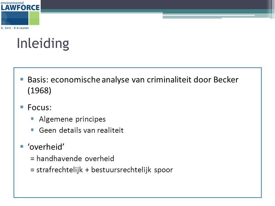 Inleiding  Basis: economische analyse van criminaliteit door Becker (1968)  Focus:  Algemene principes  Geen details van realiteit  'overheid' = handhavende overheid = strafrechtelijk + bestuursrechtelijk spoor