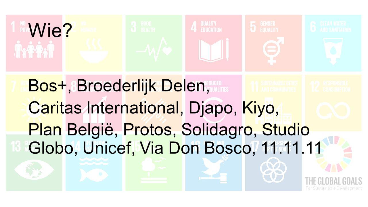 Wie? Bos+, Broederlijk Delen, Caritas International, Djapo, Kiyo, Plan België, Protos, Solidagro, Studio Globo, Unicef, Via Don Bosco, 11.11.11