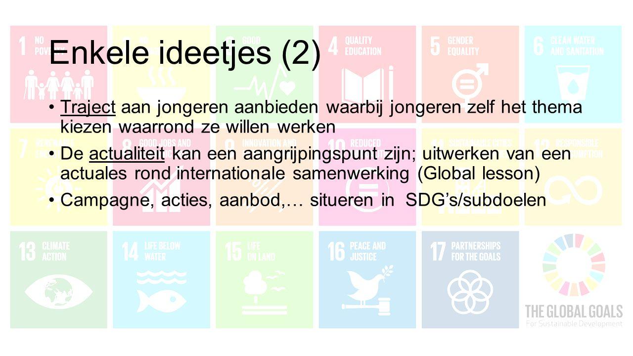 Enkele ideetjes (2) Traject aan jongeren aanbieden waarbij jongeren zelf het thema kiezen waarrond ze willen werken De actualiteit kan een aangrijpingspunt zijn; uitwerken van een actuales rond internationale samenwerking (Global lesson) Campagne, acties, aanbod,… situeren in SDG's/subdoelen
