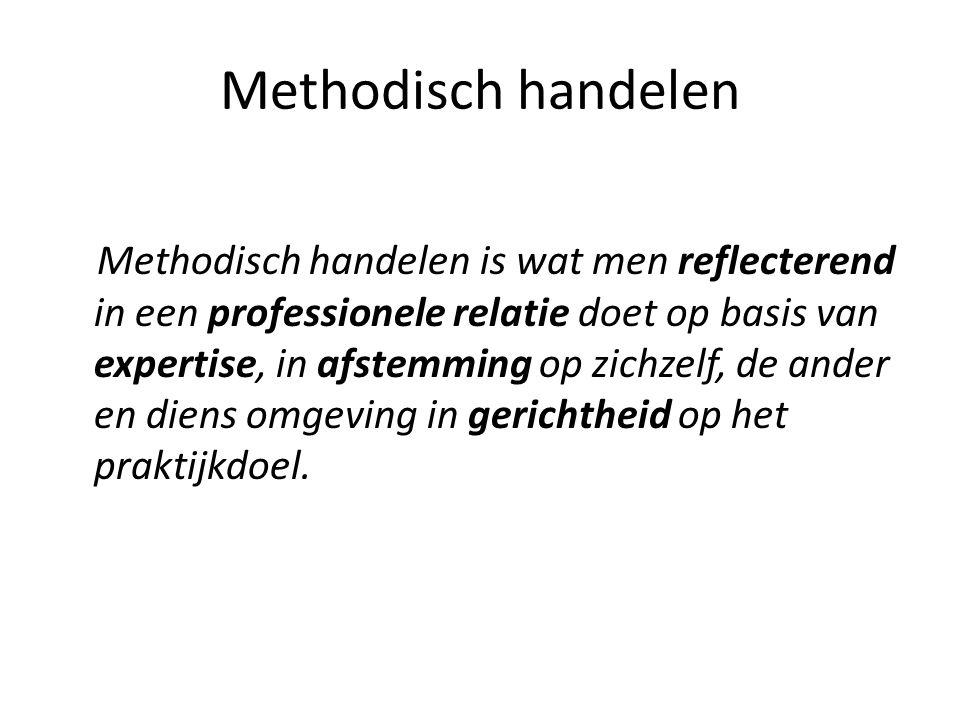 Methodisch handelen Methodisch handelen is wat men reflecterend in een professionele relatie doet op basis van expertise, in afstemming op zichzelf, de ander en diens omgeving in gerichtheid op het praktijkdoel.