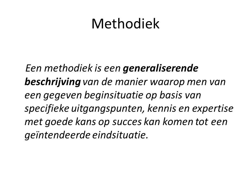 Methodiek Een methodiek is een generaliserende beschrijving van de manier waarop men van een gegeven beginsituatie op basis van specifieke uitgangspunten, kennis en expertise met goede kans op succes kan komen tot een geïntendeerde eindsituatie.
