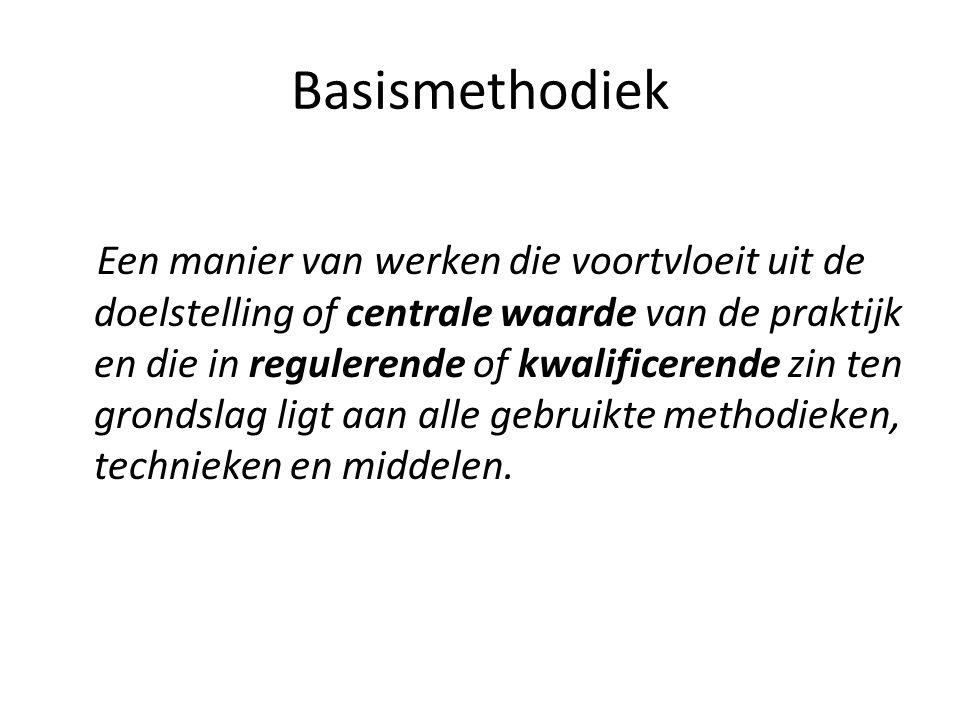 Basismethodiek Een manier van werken die voortvloeit uit de doelstelling of centrale waarde van de praktijk en die in regulerende of kwalificerende zin ten grondslag ligt aan alle gebruikte methodieken, technieken en middelen.