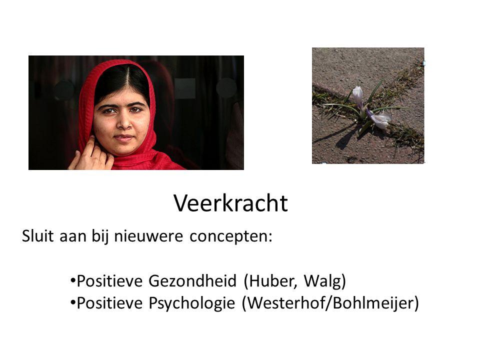 Veerkracht Sluit aan bij nieuwere concepten: Positieve Gezondheid (Huber, Walg) Positieve Psychologie (Westerhof/Bohlmeijer)