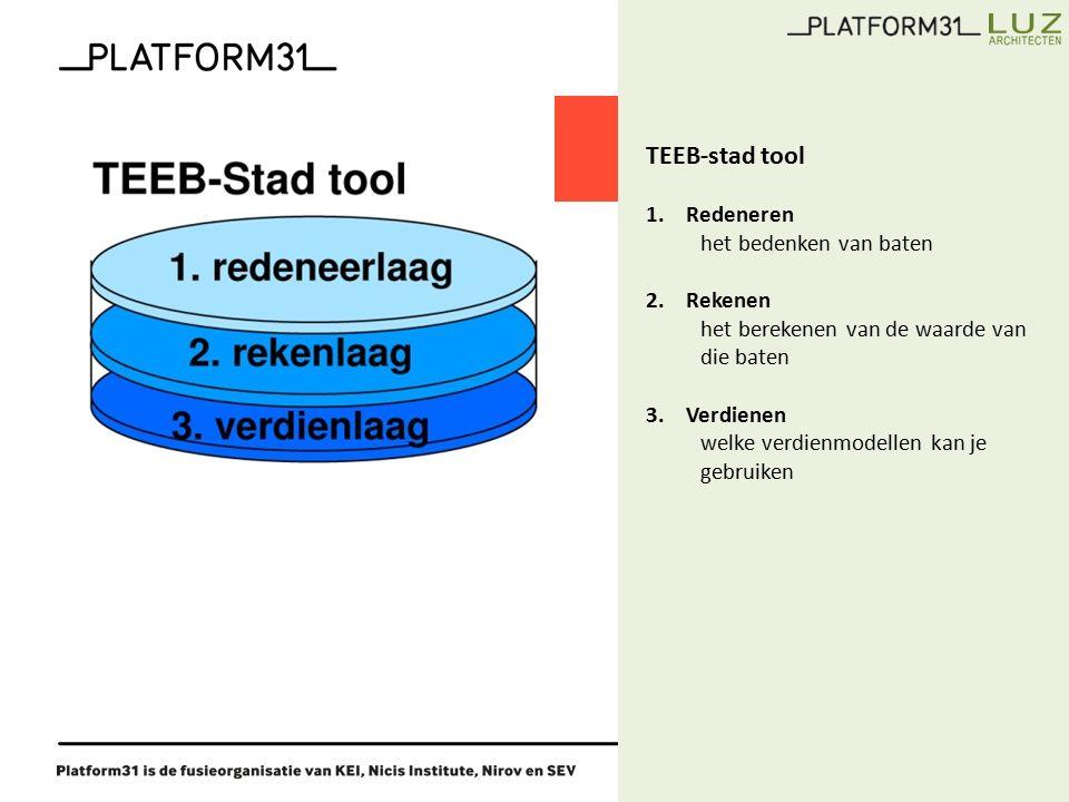 5 TEEB-stad tool 1.Redeneren het bedenken van baten 2.Rekenen het berekenen van de waarde van die baten 3.Verdienen welke verdienmodellen kan je gebruiken