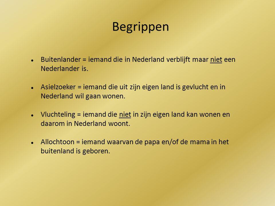 Buitenlander = iemand die in Nederland verblijft maar niet een Nederlander is.