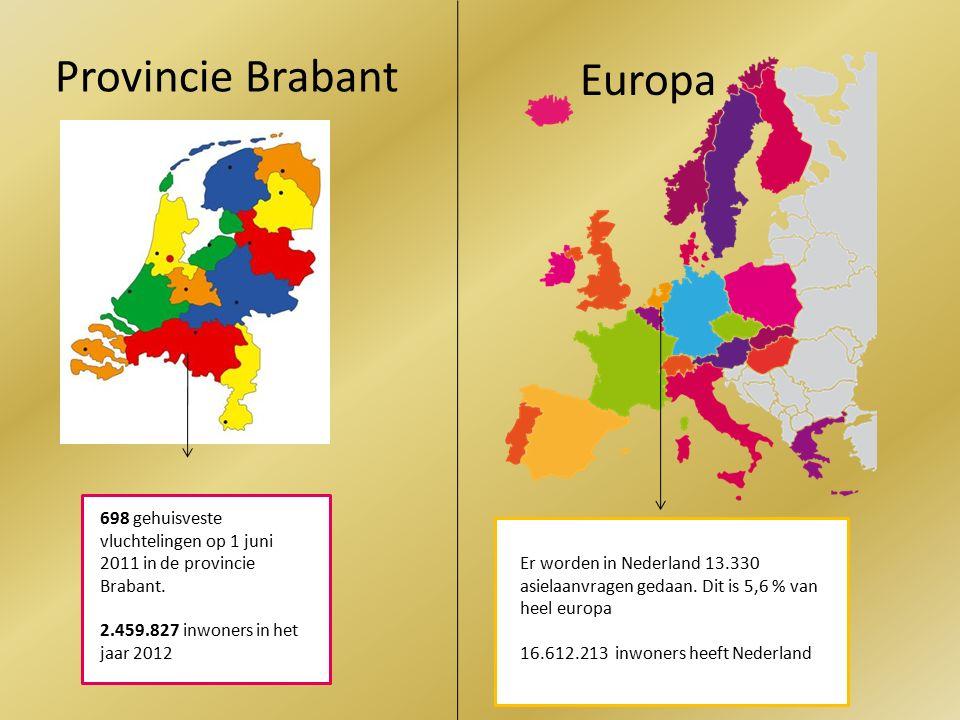 Provincie Brabant 698 gehuisveste vluchtelingen op 1 juni 2011 in de provincie Brabant.